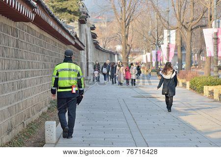 Seoul, Korea - January 06, 2014: Policeman Who Patrols Near The Gyeongbokgung In Korea