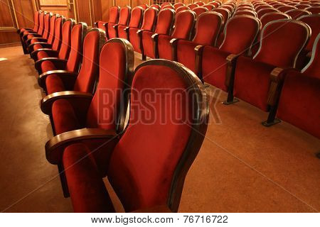 Empty Red Seats In Theater, Opera, Cinema