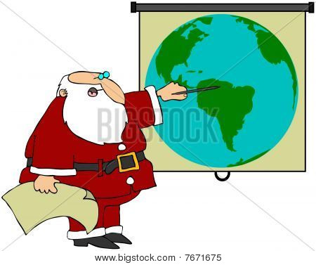 Santa Pointing At A World Globe