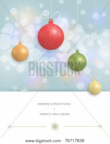 Merry Christmas card design-Christmas Greeting Card with Christmas ball and copy space for text