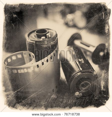 Old Photo Film Rolls, Cassette And Retro Camera. Vintage Photo Stylized.