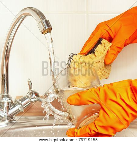Hands in gloves with sponge wash glass under running water