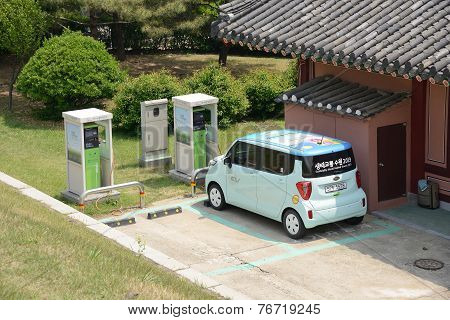 Electric Car And Charging Station  Of Suwon City