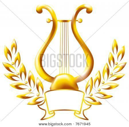 Gold lyre, framed by a laurel wreath.