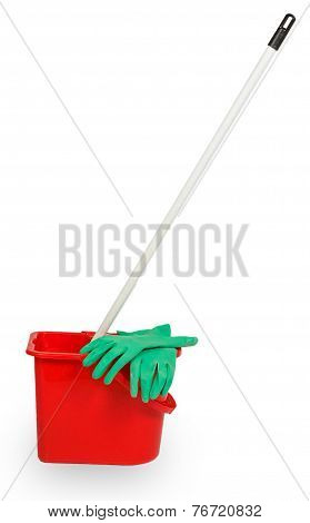 Mop In Red Plastic Bucket And Green Rubber Glove