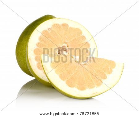 Three Pomelos,half,quarter Isolated On White