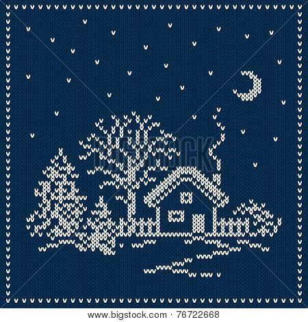 Winter Holiday Landscape. Christmas Sweater Design. Seamless Knitted Pattern
