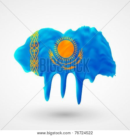 Flag of Kazakhstan painted colors