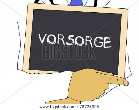 Illustration: Doctor Shows Information: Prevention In German