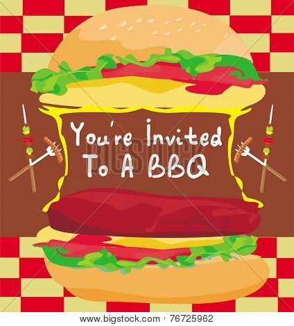Bbq Party Big Burger Invitation