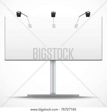 Empty wide mockup billboard with spotlights and day light. Vector Illustration.