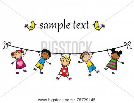 children hanging on a rope