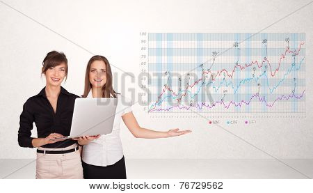 Young business woman presenting stock market diagram analysis