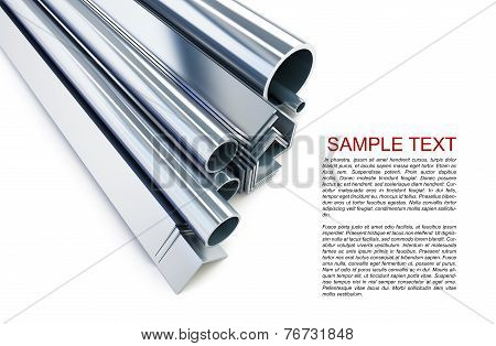 Metal Pipes, Angles, Channels, Squares On A White Background