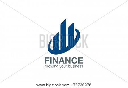 Stock Exchange Finance logo design vector template. Real Estate abstract logotype.  Business Corporate sign. Financial concept icon.