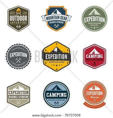 Adventure Tourism Travel Logo Vintage Labels design vector templates. Exploration Camping Badges Retro style logotype concept icons set.