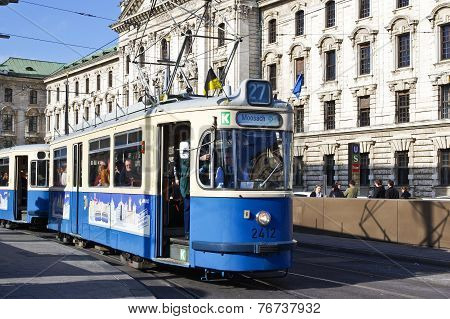 Historic Tramway In Munich,  Germany