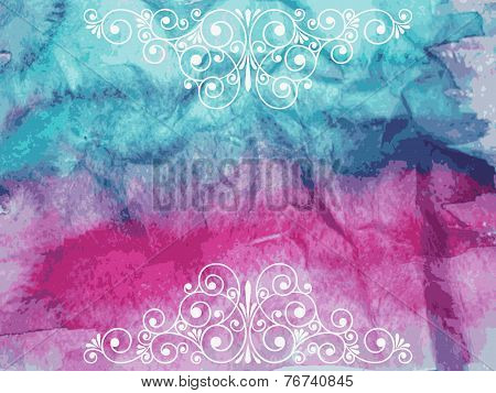 Vector Floral Decorative Elements On Watercolor Background