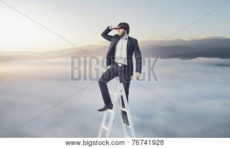 Man climbing career ladder