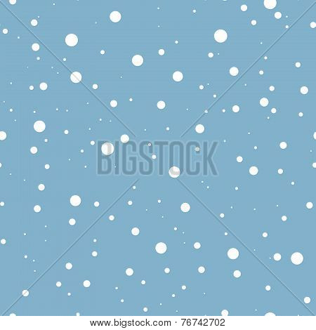 Falling snow on blue. Vector seamless background.