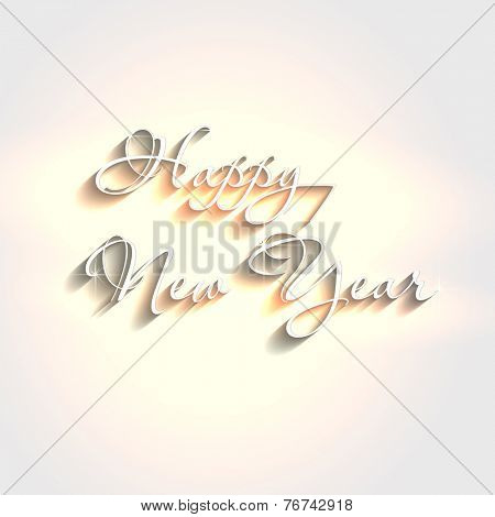 White elegant text design happy new year, easy editable