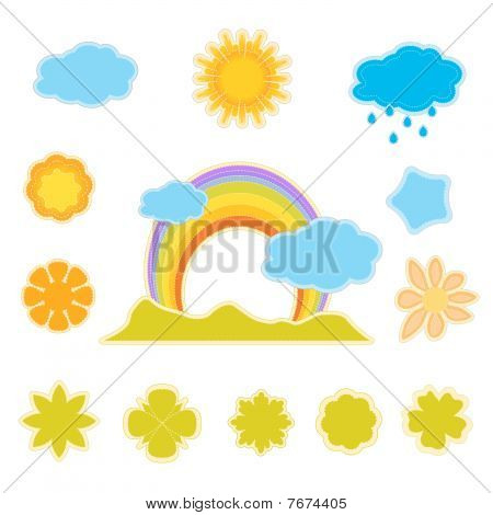 spring labels isolated on white