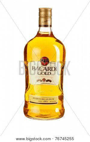 Hayward, CA - November 23, 2014: 1.5L bottle of  Bacardi Gold Puerto Rican Rum