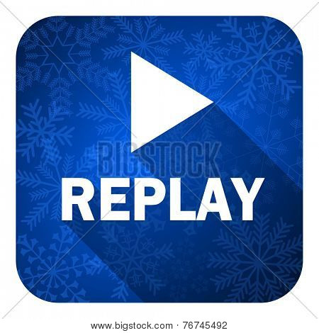 replay flat icon, christmas button