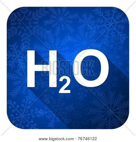 water flat icon, christmas button, h2o sign