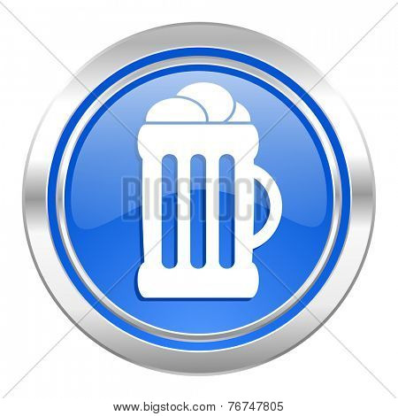 beer icon, blue button, mug sign
