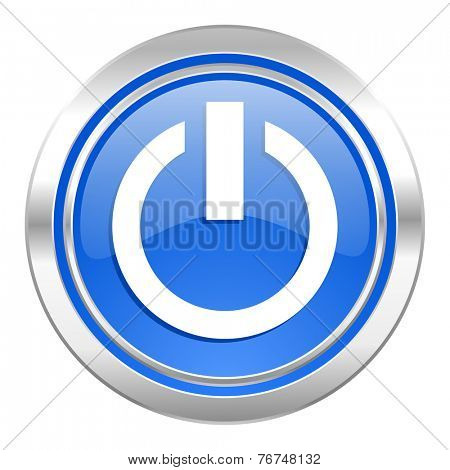 power icon, blue button, on off sign