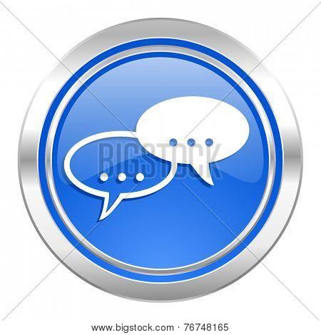 forum icon, blue button, chat symbol, bubble sign