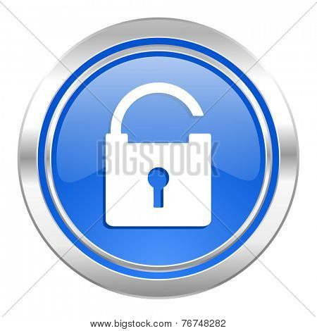 padlock icon, blue button, secure sign