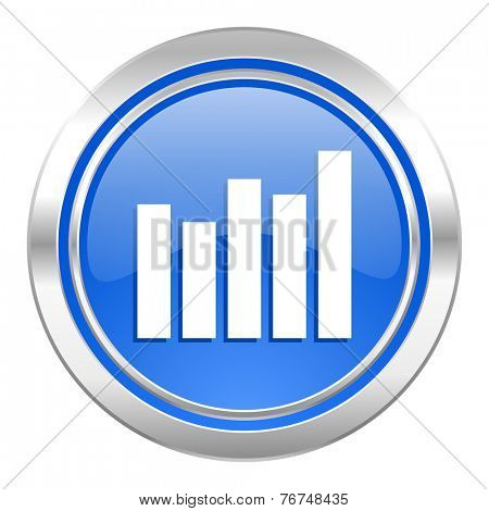 graph icon, blue button, bar graph sign