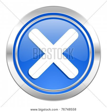 cancel icon, blue button, x sign