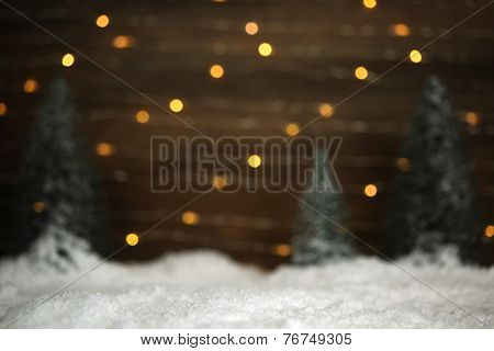 Winter scene with trees and snow background