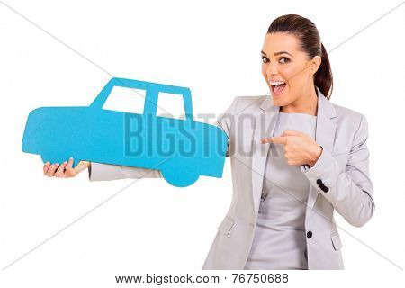 excited young woman pointing blue car symbol