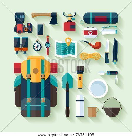 Camping equipment. Flat design.
