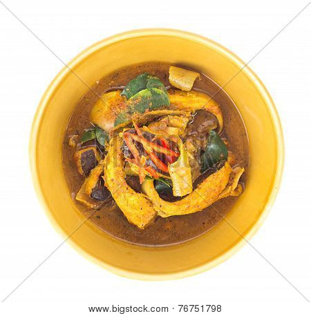 Red Curry With Sting Ray Fish Isolated On White