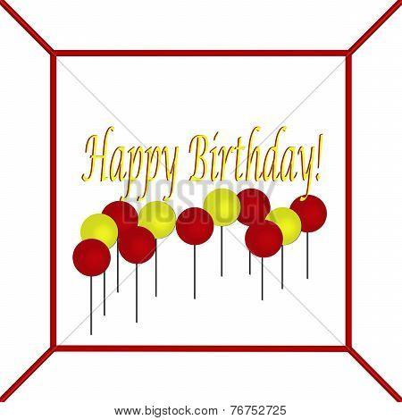 Red and Yellow Happy Birthday Cake