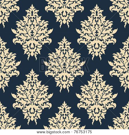 Beige on blue seamless floral pattern