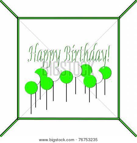 Green and White Happy Birthday Cake