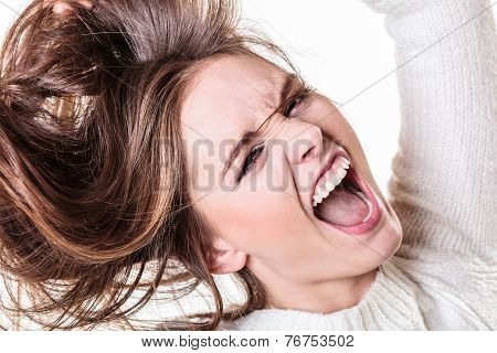 Angry teen girl crazy furious woman screaming and pulling messy hair isolated. negative emotion