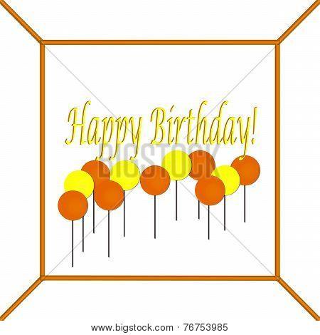 Yellow and Orange Happy Birthday Cake