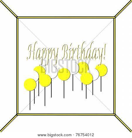 Yellow and White Happy Birthday Cake Top