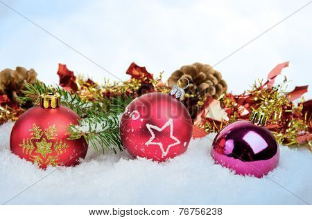 Christmas background with balls fir and cones