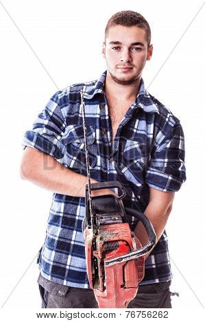 Man Holding A Chainsaw