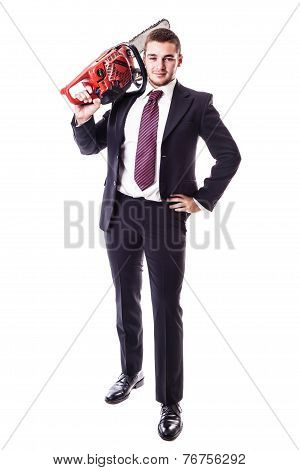 Businessman Holding A Red Chainsaw