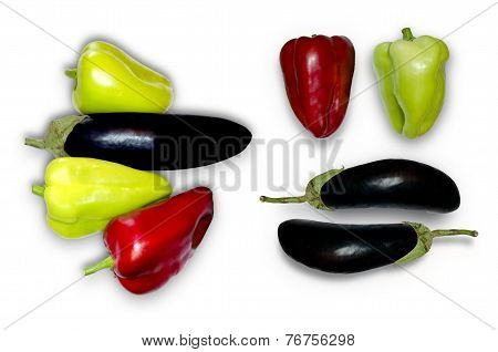 Dark purple eggplant and red and green  pepper