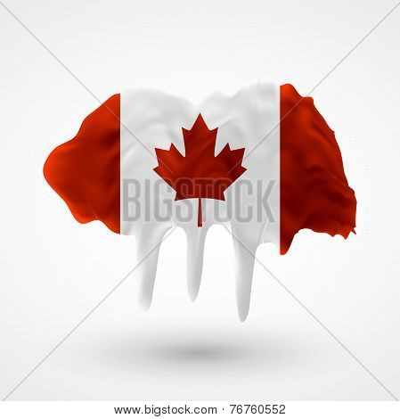Flag of Canada painted colors